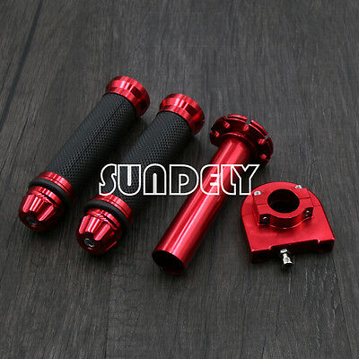 7/8'' 22mm Motorcycle Motorbike Handlebar Hand Grip & Throttle Twist Tube Red