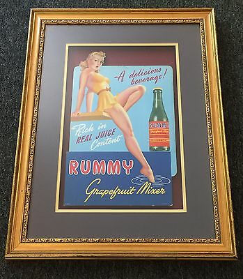 Rare Early RUMMY Grapefruit Mixer Soda Die Cut Sign Professionally Framed