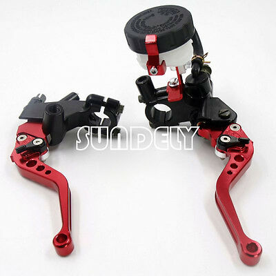 "Universal Red Motorcycle 7/8"" Brake Clutch Levers Master Cylinder Reservoir Set"