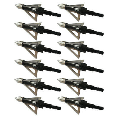 12pcs Trident Broadheads Black 100gr 3-Blade Arrow tip For compound bow crossbow