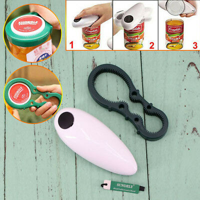 One Touch Automatic Electric Can Tin Jar Opener Hands Free Battery Operated New