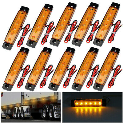 10x LED Clearance Side Marker Light Indicator Lamp Strip Truck Trailer Lorry 12V