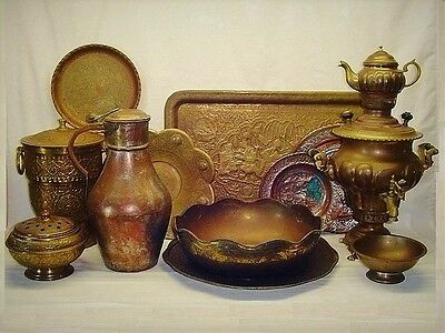 Antique Mid-Century Persian Middle East Copper Brass Bronze Lot Samovar Jug Tray