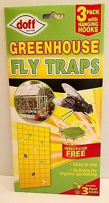 Doff Greenhouse Fly Traps 3 pack with Hanging Hooks