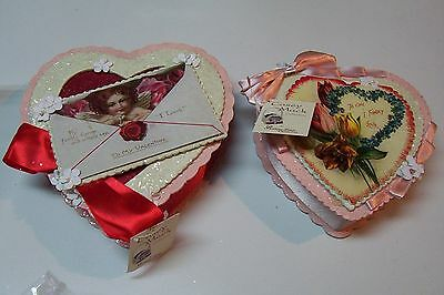 2009 Bethany Lowe by Casey Mack Valentine's Day True Love Heart Boxes Set of 2