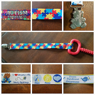 Awareness Pacifier Clips: Down Syndrome and Autism Chewy Soothie Pacy Holder