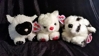 Puffkins Lot of Three - Lizzy the Sheep, Cinder the Dog, Hugs the Heart Bear