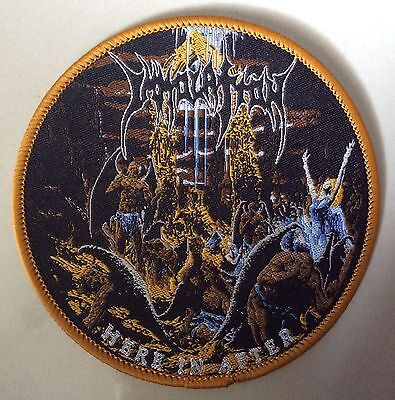 IMMOLATION WOVEN Patch LIM. 20 yellow border immolation cancer carcass death