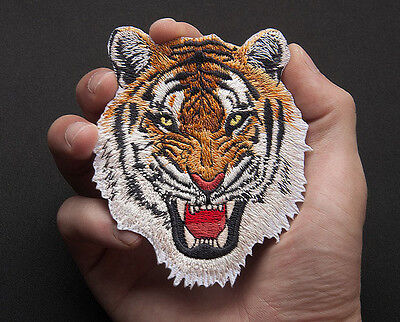 1x Tiger Head Embroidered Iron On Patches Badge Hat Fabric Applique DIY Craft