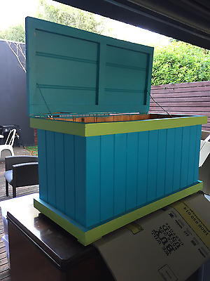 Toy Box / Chest / Trunk  - Timber Painted Blue & Green