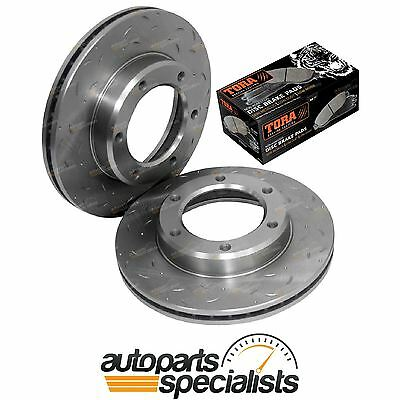 2 Front Drilled + Slotted Disc Rotors + Brake Pads Landcruiser 80 Series 90-8/92