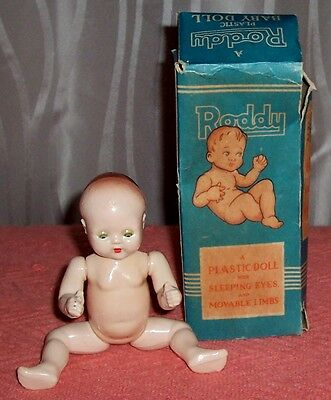 Vintage RODDY BABY DOLL Hard Plastic with box British Made c1950's England