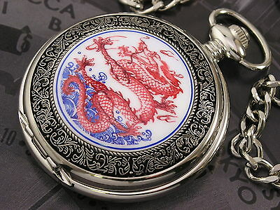 Red Dragon Flying in Blue Sky Painting Pocket Watch, Vintage Style, WTP2203
