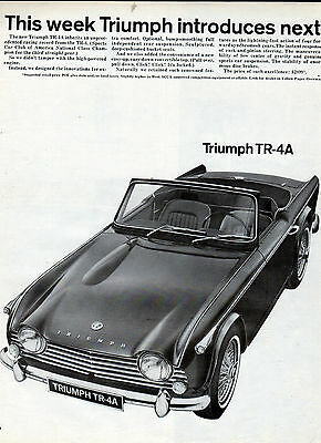 1965 Triumph-car ads  TR-4A and Spitfire Mk2 - 2 page ad---[-462