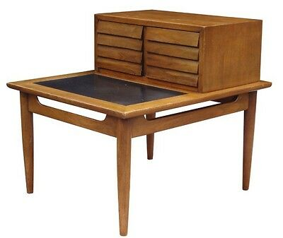 American of Martinsville Mid Century Louvered Walnut Nightstand Vintage 1960s