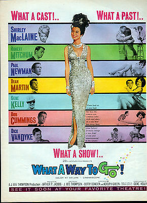 """1964 """"What a Way to Go """" movie ad -Shirley MacLaine,Paul Newman,Mitchum,-0-428"""