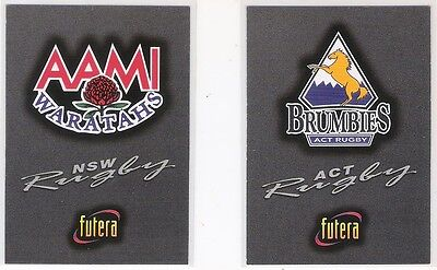 1996 Futera Nsw Waratahs & Act Brumbies Rugby Logo Cards