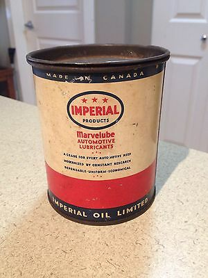 Imperial Oil / Marvelube 1lb Oil Can Grease 3 Star Esso collectible Vintage