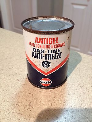Gulf Oil Can 4 Oz Full Gas Line Anti Freeze collectible Vintage Very Clean