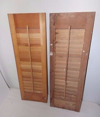 """Vtg Antique Wood Louver Shutters 24"""" Tall by 8"""" Wide each"""