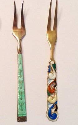 2 Vintage Sterling and Enamel Cocktail Forks from Norway