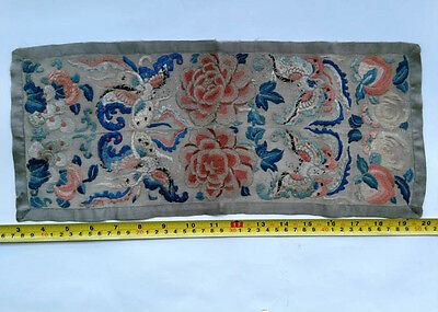 ANTIQUE 19c CHINESE SILK EMBROIDERY A FORBIDDEN STITCH PANEL