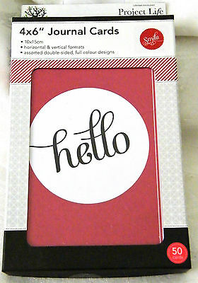"Project Life Journal cards 'Say Hello'- 4"" x 6"" - 50 Cards, PLUS 2 Free Jnl Pens"