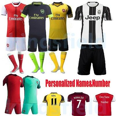 2017 Football kits Soccer Jersey Short Sleeve for 3-14Y Kids Boy Suit with Socks