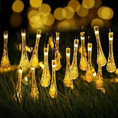 30 LED Solar Power Water Drop Fairy String Light Outdoor Garden Christmas Party