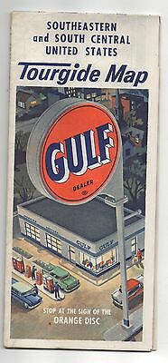 Vintage 1957 Gulf Tourgide Map of Southeastern and South Central United States