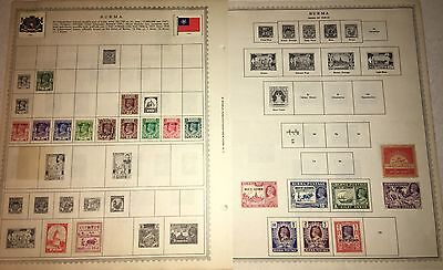 Lot Of 21! BURMA Stamps 1939-1954 Japanese Mily Hinged Minkus Sheets Unused/Used