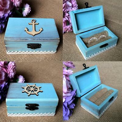 Shabby Chic Rustic Wedding Wooden Ring Pillow Bearer Box Nautical Rudder/Anchor