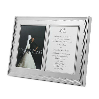 NEW Wedgwood Vera Wang Grosgrain Silver Plated Double Frame