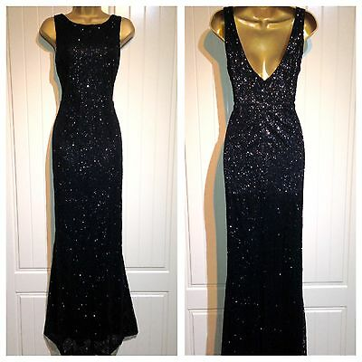 Glitter Embellished Black Formal Sheath Evening Gown Maxi Party Dress UK Size 14