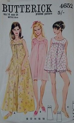 60's Butterick #4652 Baby Doll Nightdress and Knickers, Nightie, Long Nightgown