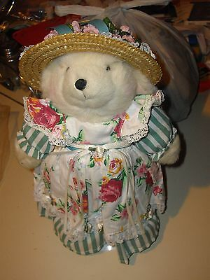 """NEW VINTAGE AVON 13"""" Country TEDDY Girl 1995 COLLECTIBLES TEDDY BEAR W/ STAND"""