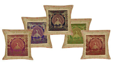 Set of 5pcs Silk Cushion Covers Animal Brocade Sofa Couch Bed Pillow Cases 16x16