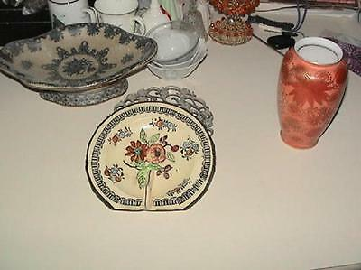 Antique WW2 Era Post Card & Greeting Card Display Plate Floral Marked Made Japan