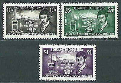 17J_AA005 COLOMBIA - 1958 Yvert 547+A.308/9 Intl. Geophysical Year MNH Set