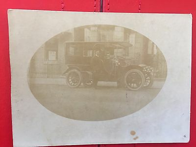 Early Photo postcard, Old Car , Proud owner in front of car