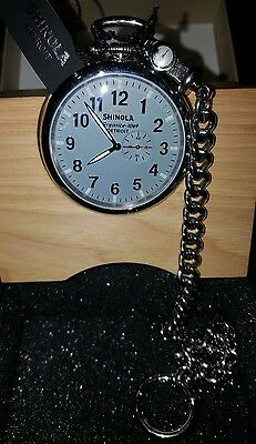 Shinola Runwell Pocket Watch 49mm with Chain and Stand