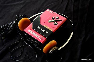 Red Sony Walkman WM-DD30, Sony MDR30II, restored 100% , nice condition