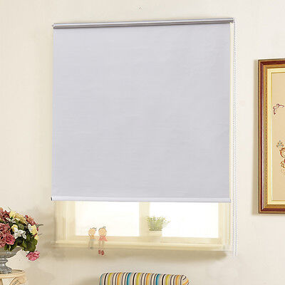 FULL SHUT ROLLER BLIND/BLINDS - 150CM DROP W90 Thermal BLACKOUT Trimmable WHITE