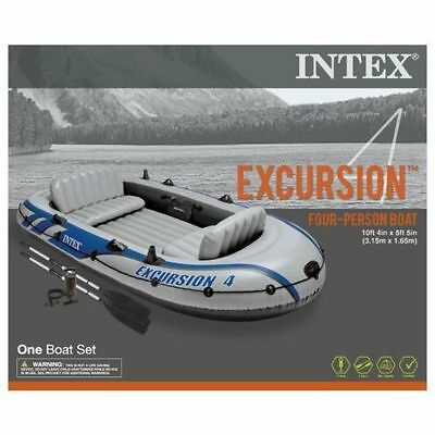 Intex Excursion 4 Inflatable Four Person Boat Set with Paddles and Pump
