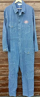 "Superb Goodwood Revival Vintage Style Striped Esso Badged Overalls 48- 50"" Chest"