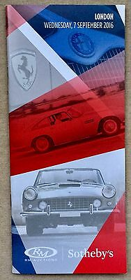 RM Sotheby's London Annual Car Auction 7 Sept 2016 Booklet Of The Car Lots
