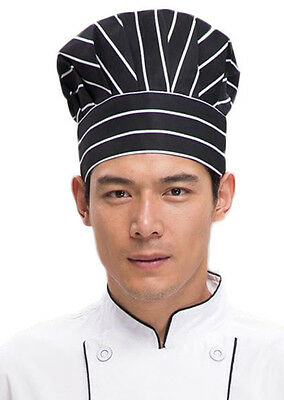 Professional Black Striped Hotel Restaurant Chef Hat Cap Kitchen  Cook Unisex