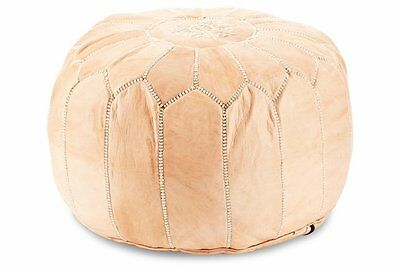**Imperfection** Leather Ottoman Pouffe Pouf Footstool Natural Tan