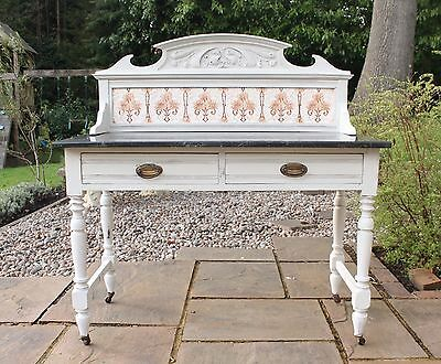 Vintage Shabby Chic Tiled Washstand Pale Grey