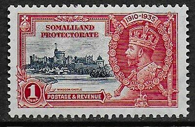 Somaliland Protectorate 1935 KGV Silver Jubilee - 1a Deep Blue & Scarlet - MH